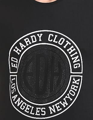 Ed Hardy Embellished Branding Crew Neck T-Shirt