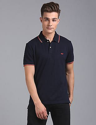 GAP Men Black Cotton Pique Polo Shirt