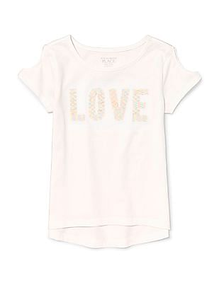 803b77bec The Children's Place Girls Short Sleeve Flip Sequin Graphic Cold-Shoulder  Top