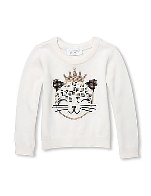 The Children's Place Toddler Girl Cat Sequin Knit Sweater