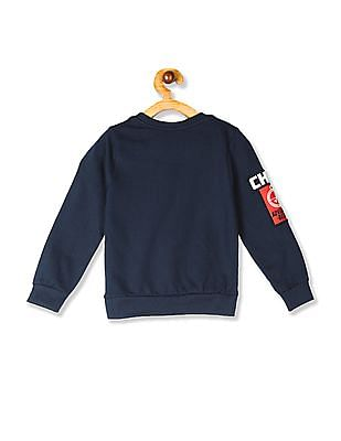 Cherokee Blue Boys Crew Neck Appliqued Sweatshirt