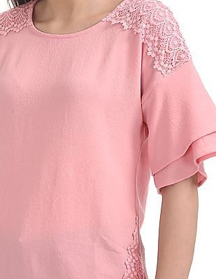 Cherokee Textured Lace Trim Top