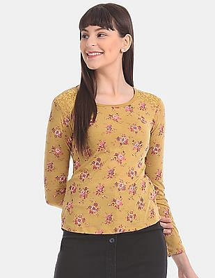 Aeropostale Yellow Lace Panel Floral Print T-Shirt
