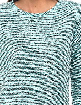 Cherokee Patterned Knit Round Neck Top