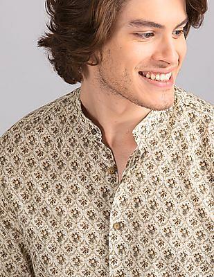 True Blue Beige Slim Fit Mandarin Collar Shirt
