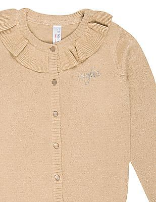 U.S. Polo Assn. Kids Girls Ruffled Trim Shimmery Cardigan