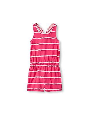 The Children's Place Girls Sleeveless Bow-Back Striped Romper
