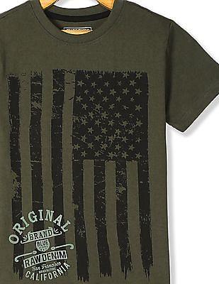 Cherokee Green Boys Crew Neck Printed T-Shirt