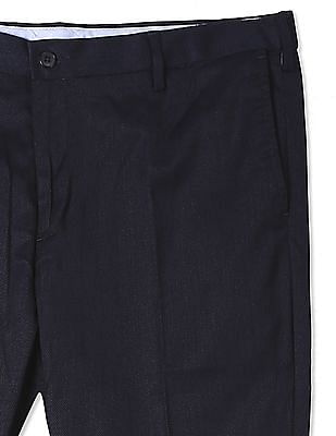 USPA Tailored Blue Mid Rise Patterned Weave Trousers