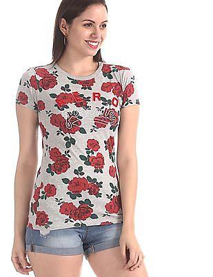 Aeropostale Grey Crew Neck Floral Print T-Shirt
