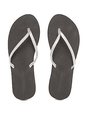 Aeropostale Metallic V-Strap Sandals