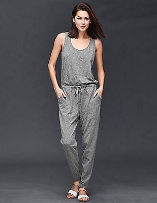 GAP Women Grey Sleeveless Tie Jumpsuit