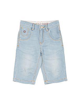 U.S. Polo Assn. Kids Boys Stone Wash 3/4Th Denim Shorts
