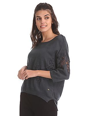 Elle Lace Patch Round Neck Sweater