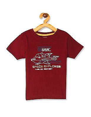 Cherokee Red Boys Crew Neck Printed T-Shirt