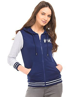 Flying Machine Women Colour Block Hooded Sweatshirt