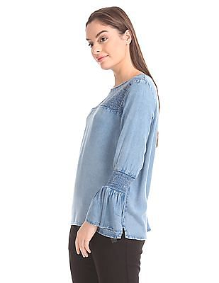 Cherokee Smocked Chambray Top