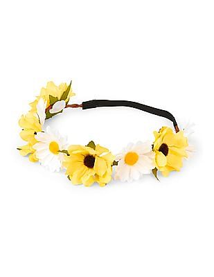 The Children's Place Girls Yellow Daisy Flower Crown Twisted Headwrap