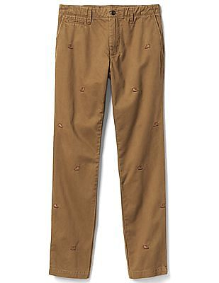 GAP Men Brown Vintage Wash Embroidered Slim Fit Khakis
