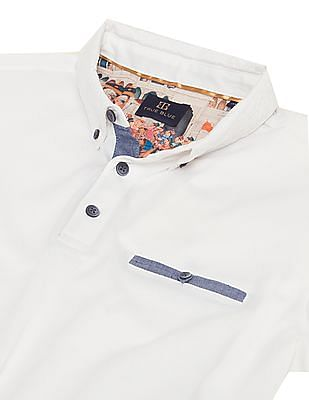 True Blue Embroidered Collar Slim Fit Polo Shirt