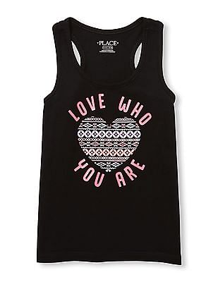 The Children's Place Girls Black Matchables Sleeveless Glitter Graphic Racer-Back Tank Top