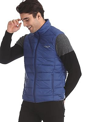 U.S. Polo Assn. Blue Solid Gilet Jacket