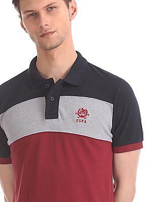 U.S. Polo Assn. Maroon And Navy Colour Block Polo Shirt