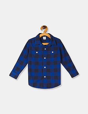 GAP Baby Boy Blue Long Sleeve Buffalo Plaid Shirt