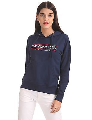 U.S. Polo Assn. Women Embroidered Hooded Sweatshirt