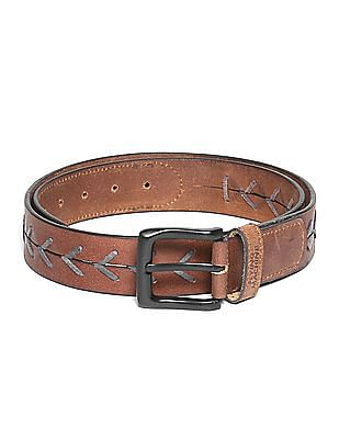 Flying Machine Contrast Trim Leather Belt