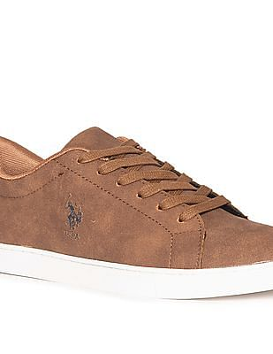 U.S. Polo Assn. Brown Textured Mid Top Sneakers