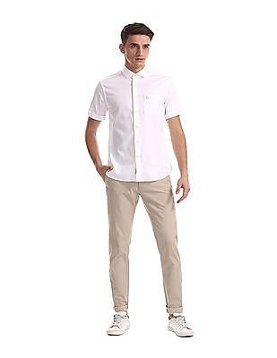 U.S. Polo Assn. White Cutaway Collar Patterned Shirt