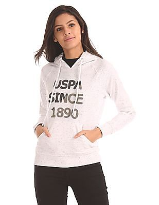 U.S. Polo Assn. Women Appliqued Speckled Sweatshirt
