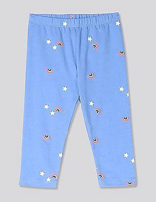 GAP Blue Baby Print Leggings In Stretch Jersey
