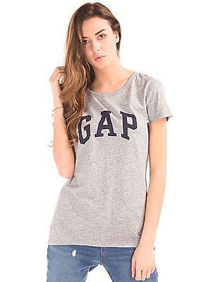 GAP Logo Print Heathered T-Shirt