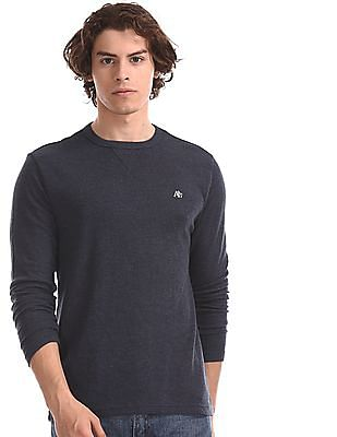 Aeropostale Blue Patterned Knit Long Sleeve T-Shirt