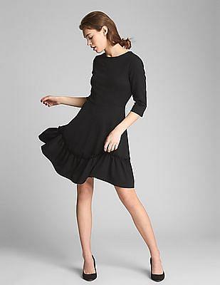 GAP Women Black Long Sleeve Ruffle-Hem Dress in Ponte