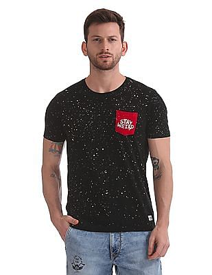 Flying Machine Crew Neck Splatter Print T-Shirt