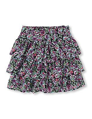 The Children's Place Girls Multi Colour Floral Print Tiered Skirt