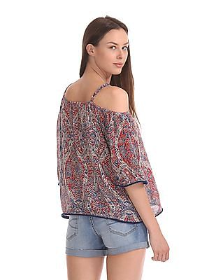 Flying Machine Women Printed Cold Shoulder Top