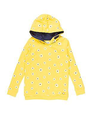 U.S. Polo Assn. Kids Girls Floral Printed Hooded Sweatshirt