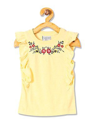 Cherokee Girls Embroidered Flutter Sleeve Top