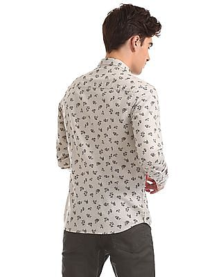 Flying Machine Long Sleeve Floral Print Shirt