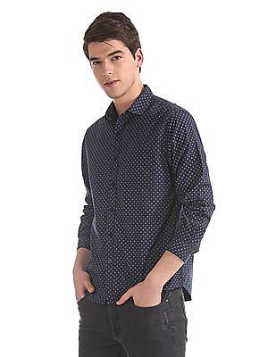 Ruggers Blue Regular Fit Cutaway Collar Shirt