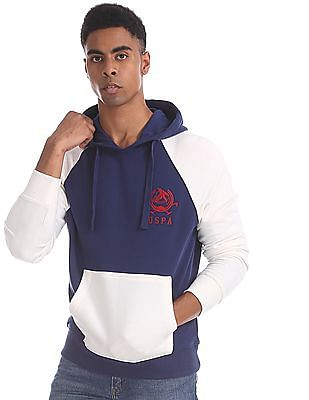 U.S. Polo Assn. Blue Colour Block Hooded Sweatshirt