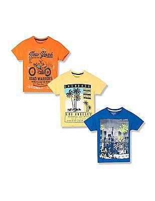 Cherokee Boys Printed T-Shirts - Pack Of 3