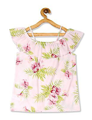 The Children's Place Pink Girls Ruffled Off Shoulder Top
