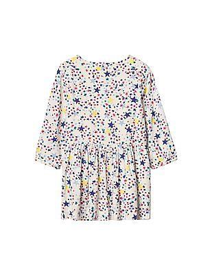 GAP Baby White Starry Print Shirt Dress