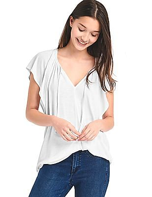GAP Women Grey Drapey Flutter Sleeve Top