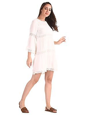 Cherokee White Tiered Lace Shift Dress